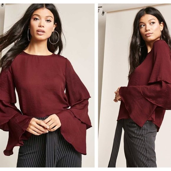 Forever 21 Satin Tiered-Sleeve Top